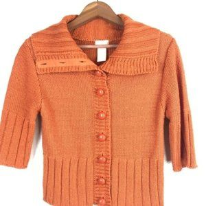 Tulle Sweaters - Tulle Orange Button Front 3/4 Sleeve Sweater M
